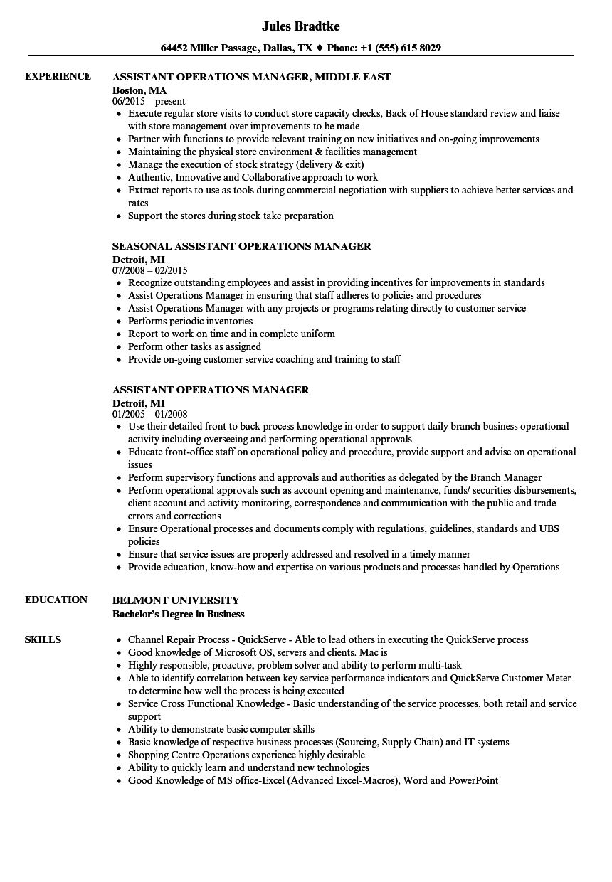 Assistant Operations Manager Resume Samples in 2020