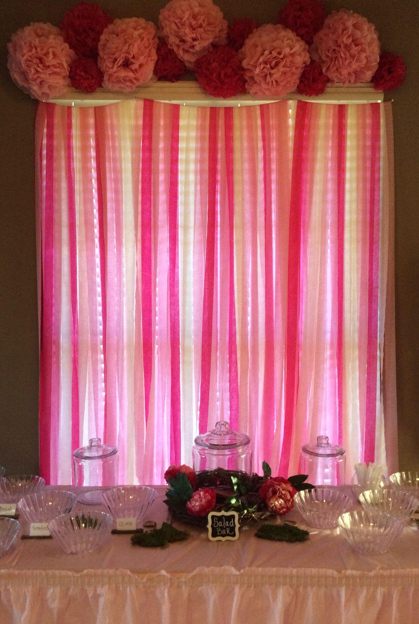 Pink crepe paper backdrop Pom Pom flowers