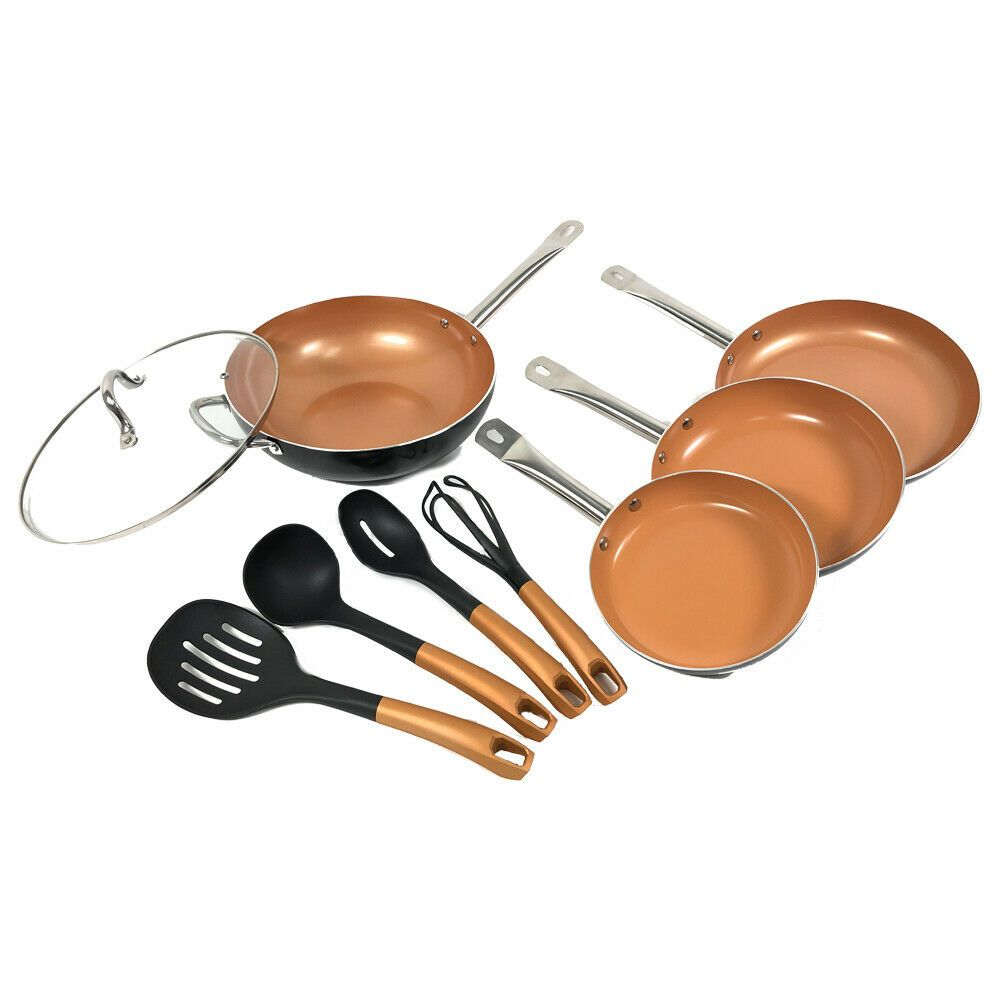 9 3 Pcs Nonstick Ceramic Copper Cookware Set Frying Pan Set Wok Cooking Utensil Ebay Copper Cookware Set Cookware Set Copper Cookware