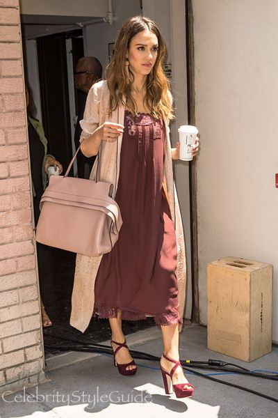 24eaf064d2 Jessica Alba and Tod's Wave Bag, THE GREAT The Pintuck lace-trimmed silk  midi dress. See the latest Jessica Alba style, fashion, beauty, trends, ...