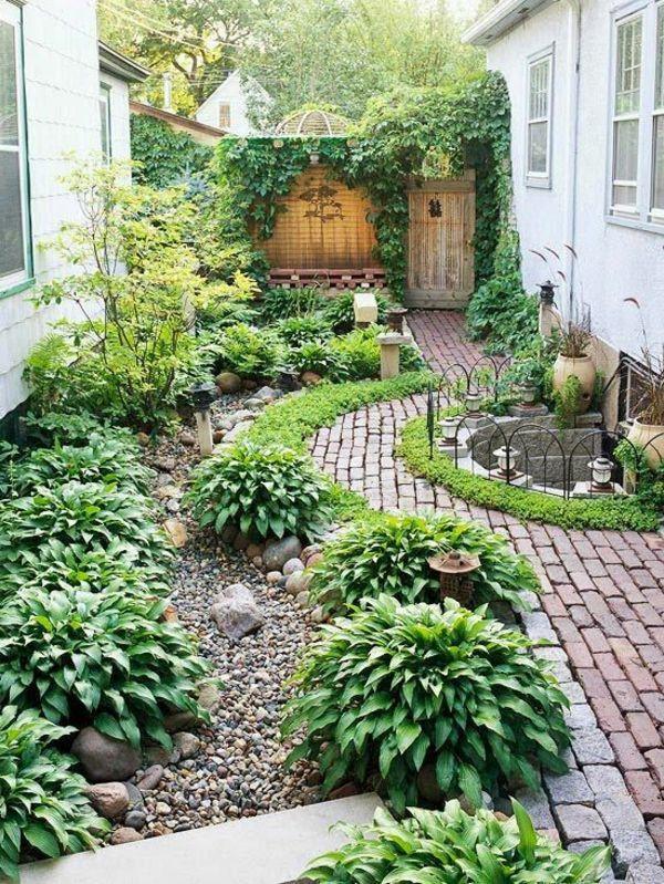 Romantischer Gartenhof Gardens, Garden ideas and Side yards - reihenhausgarten vorher nachher
