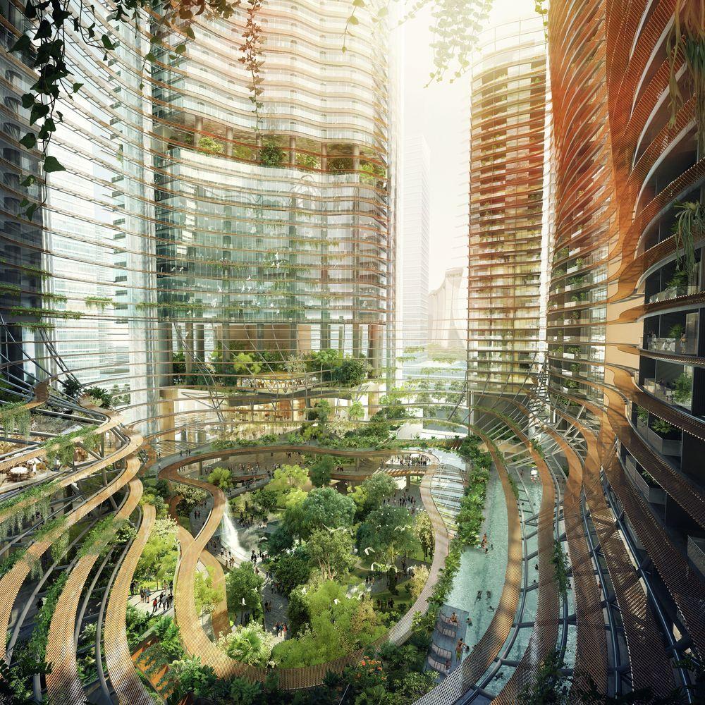 galera gustafson porter y ingenhoven presentan cuatro umontaososu rascacielos en singapur