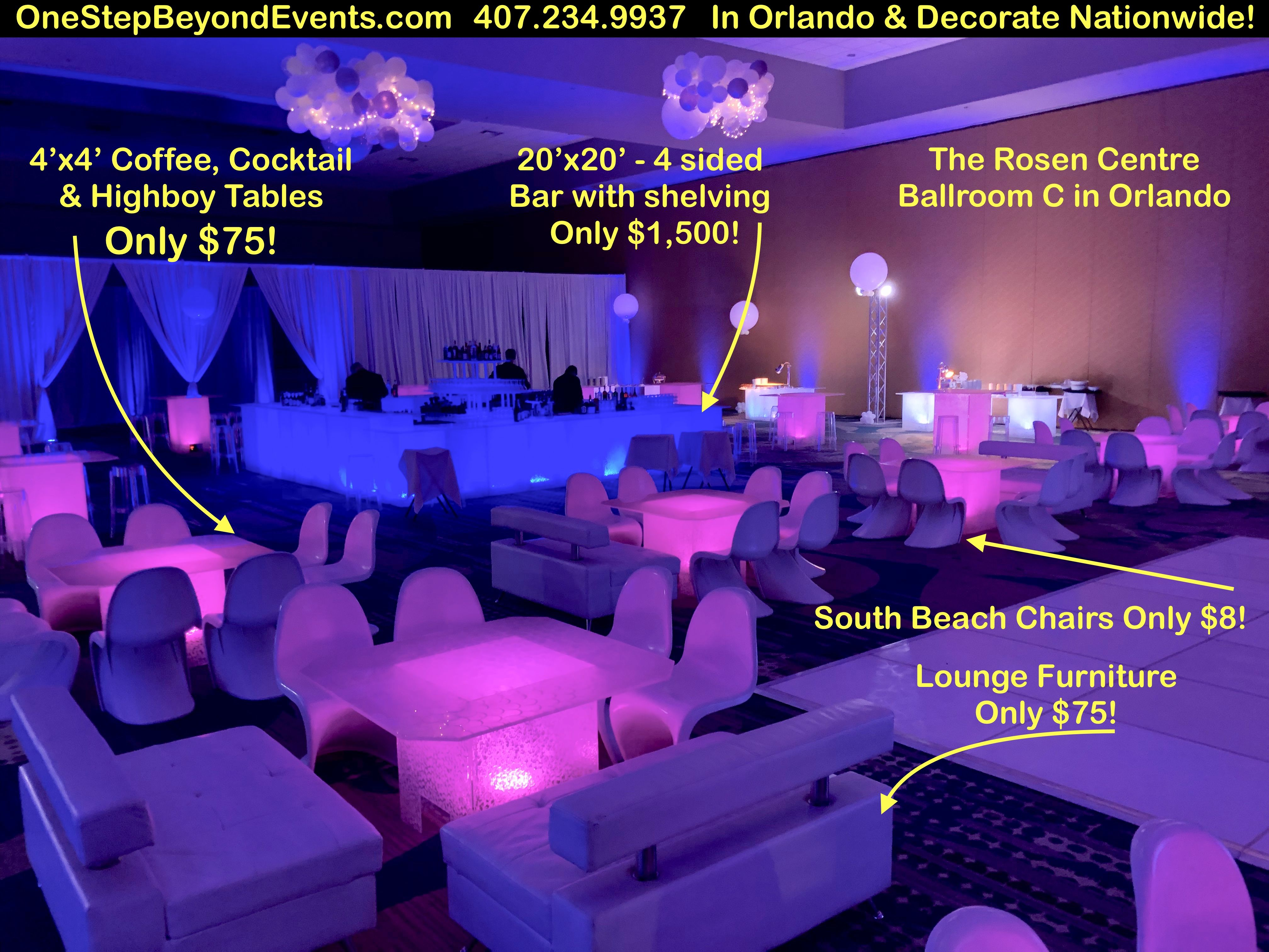 Affordable Party Rentals Led Table Led Furniture Rentals South Beach Vegas Style Light Up Decor Elegant 4 X4 C In 2020 Glow Table Wedding Rentals Party Rentals