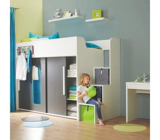 hochbett in weiß und anthrazit - ein hingucker fürs kinderzimmer