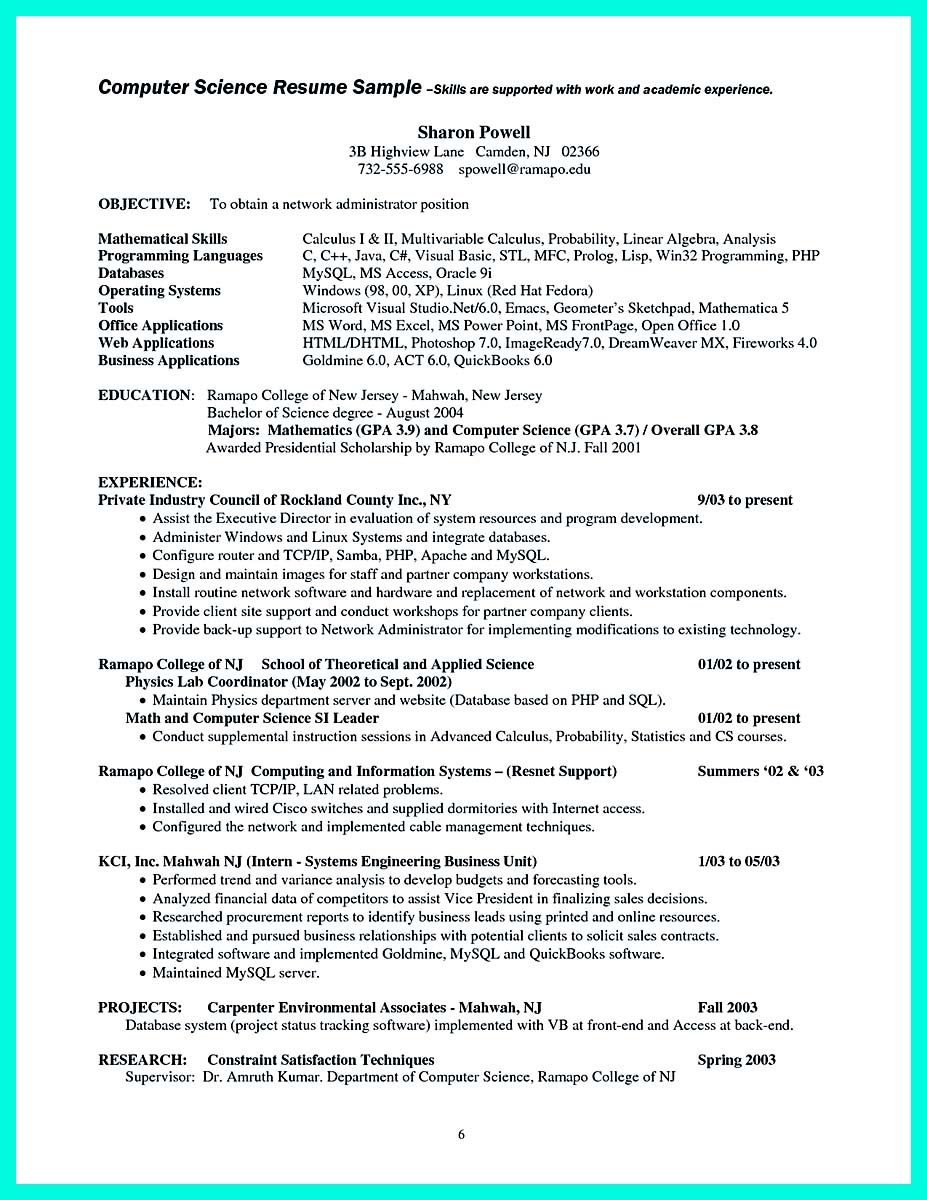 Cool The Best Computer Science Resume Sample Collection Check