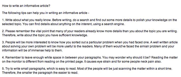 informative writing tips