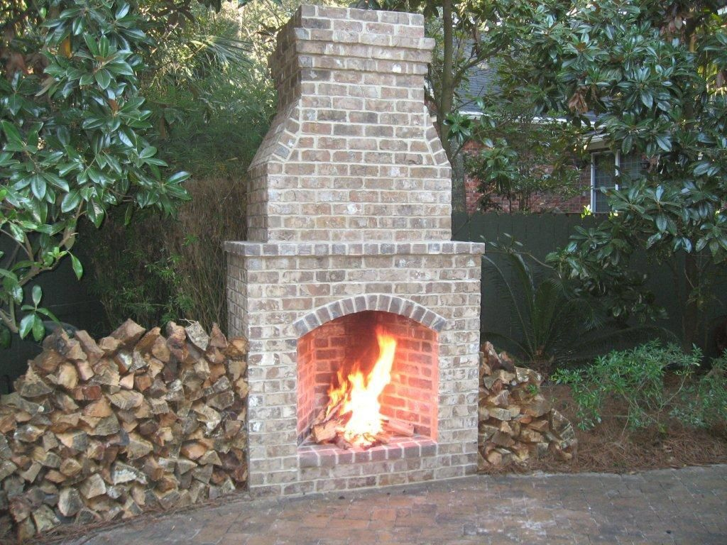 outdoor patios with fireplaces | Charleston Outdoor ... on Brick Outdoor Fireplace Ideas id=26770