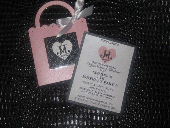 Purse Invitation Handbag Invitation by TheCoutureInviteDiva