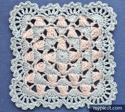MyPicot - Free crochet pattern for pretty square | Crochet Squares ...