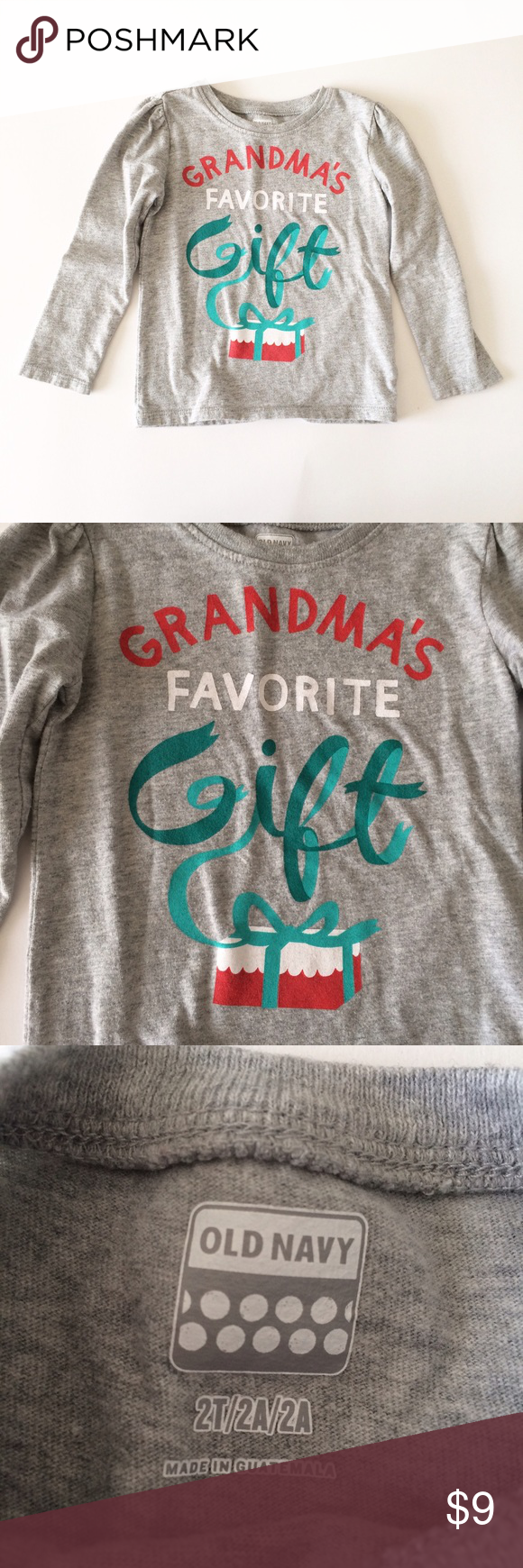 OLD NAVY [girls] Gray holiday Christmas Shirt Gently worn, no damage ...