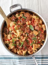 Creamy Roasted Red Pepper and Chicken Sausage Pasta and a Virtual Baby Shower  foodiecrush Creamy Roasted Red Pepper and Chicken Sausage Pasta and a Virtual Baby Shower...