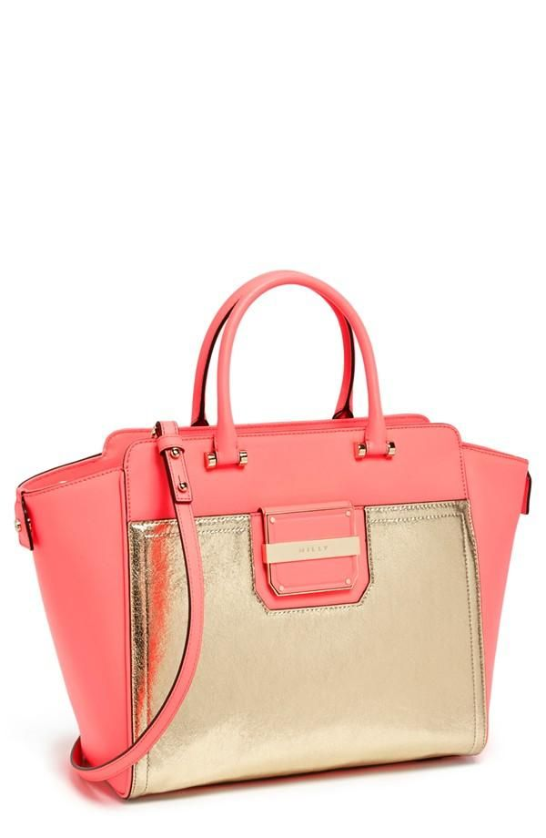 Milly pink and gold tote