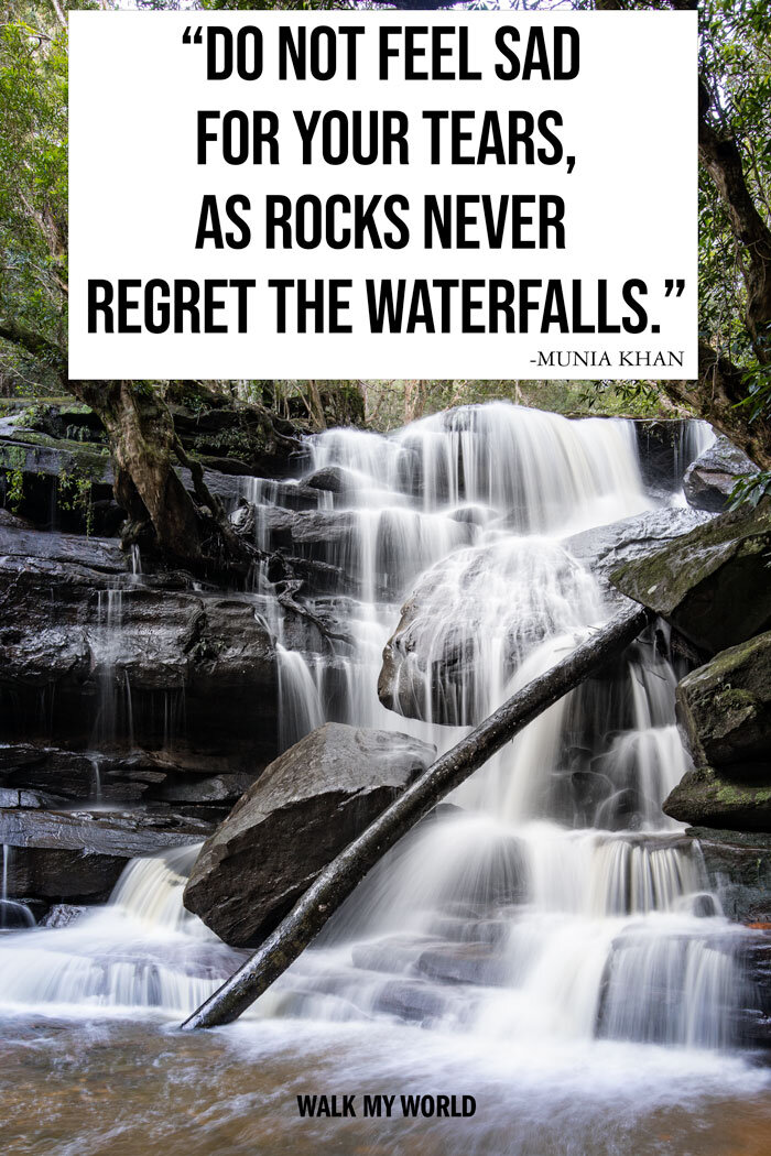 40 Waterfall Quotes To Inspire The Perfect Instagram Caption Walk My World Waterfall Quotes Instagram Captions Waterfall