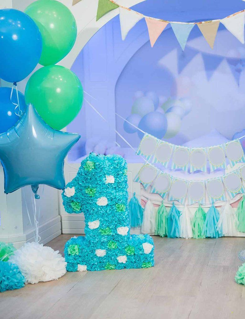 Blue Wall And Balloons With Wood Floor For Baby One Birthday Backdrop Birthday Backdrop First Birthday Pictures Balloons