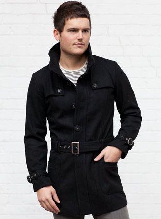 Men's Black High Collar Retro Coat | Grande Turismo | Pinterest