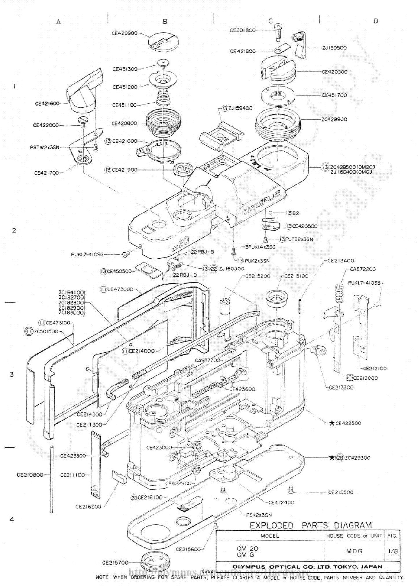 OLYMPUS OM-20 OM-G EPD Service Manual download, schematics