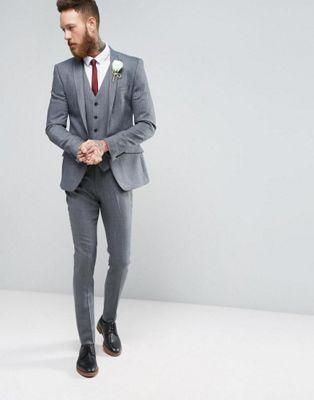 ASOS WEDDING Skinny Suit in Herringbone In Blue Wool Blend | Dress ...