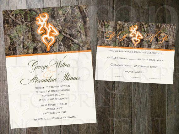 Buck Doe Heart Wedding Invitation And Rsvp Card