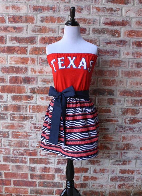 Texas Rangers Baseball Strapless Game Day Dress By Jillbenimble Gameday Dress Texas Rangers Apparel Texas Rangers Baseball