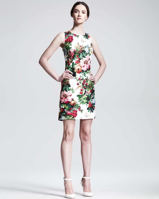 a52ae69735 Dolce  amp  Gabbana Sleeveless Floral-Print Shift Dress - Neiman Marcus  Print Shift