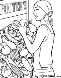 Fruit Stand Vacation Coloring Book Page
