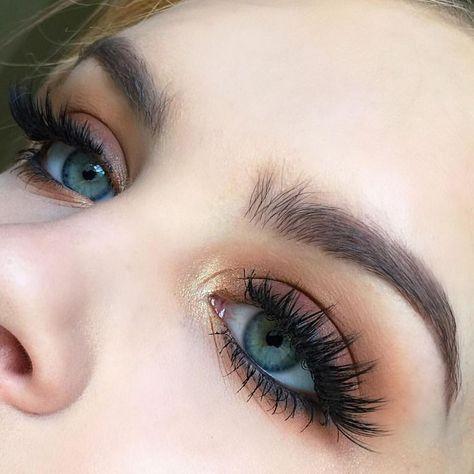 warm shadows easy eye makeup tutorial for blue eyes