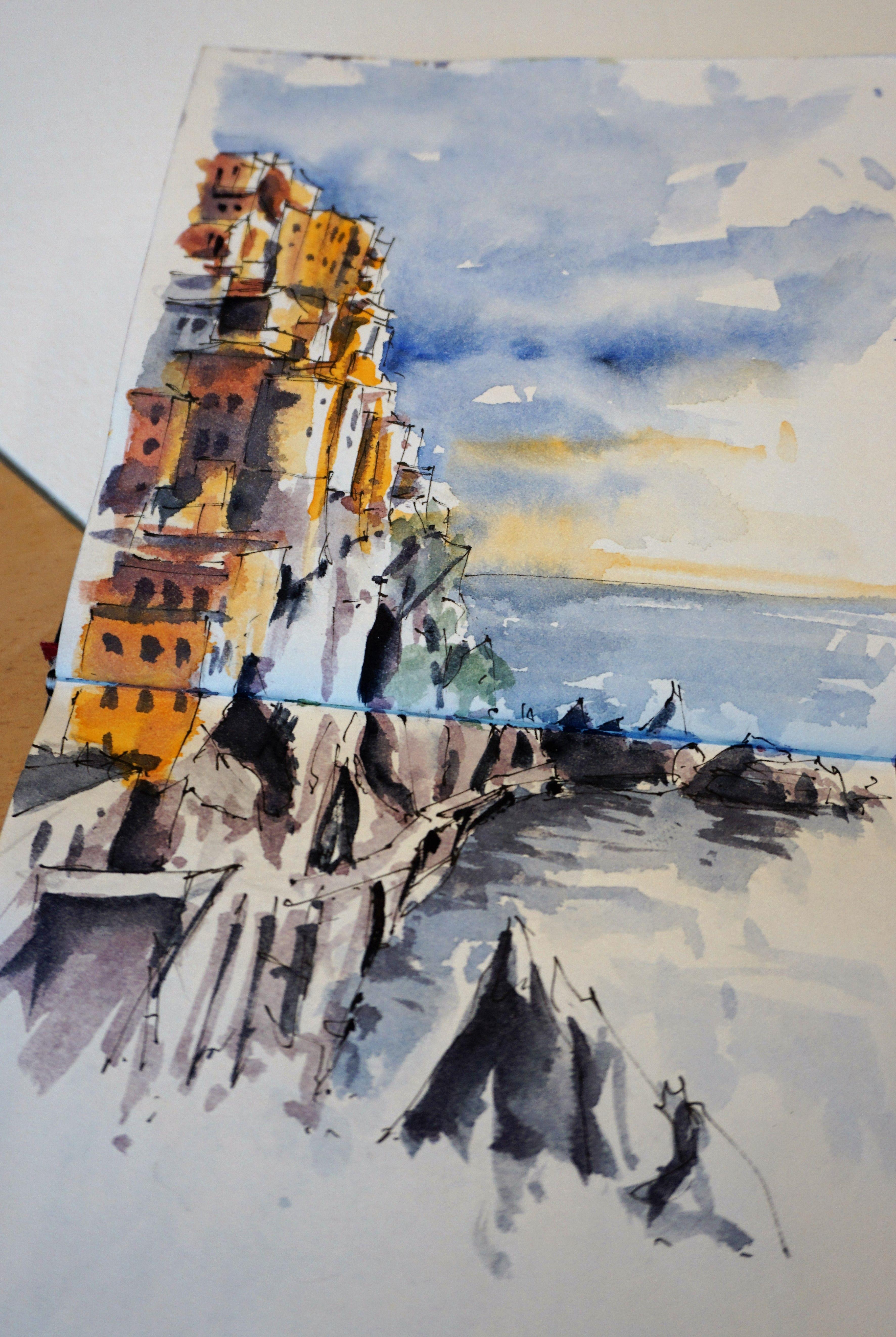 Croquis Aquarelle De Didier Georges Aux Cinque Terre Peinture