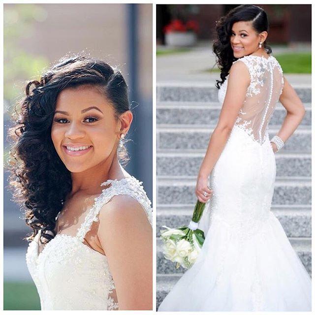 African American Wedding Hairstyles: Beautiful Bride! Makeup By @makeupartistrybykori Thanks