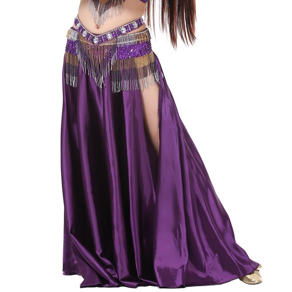 Dance Fairy Sexy Dark Green belly dance Satin long opening skirt(not contain belt), Clothing - Amazon Canada