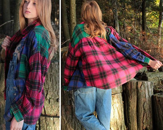 VINTAGE Pink Checked Plaid Flannel Shirt 1980s 1990s Casual Plaid Shirt ML