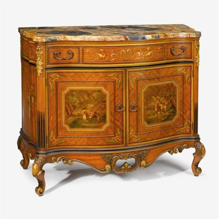 Napoleon III parcel gilt and polychrome painted commode, 19t