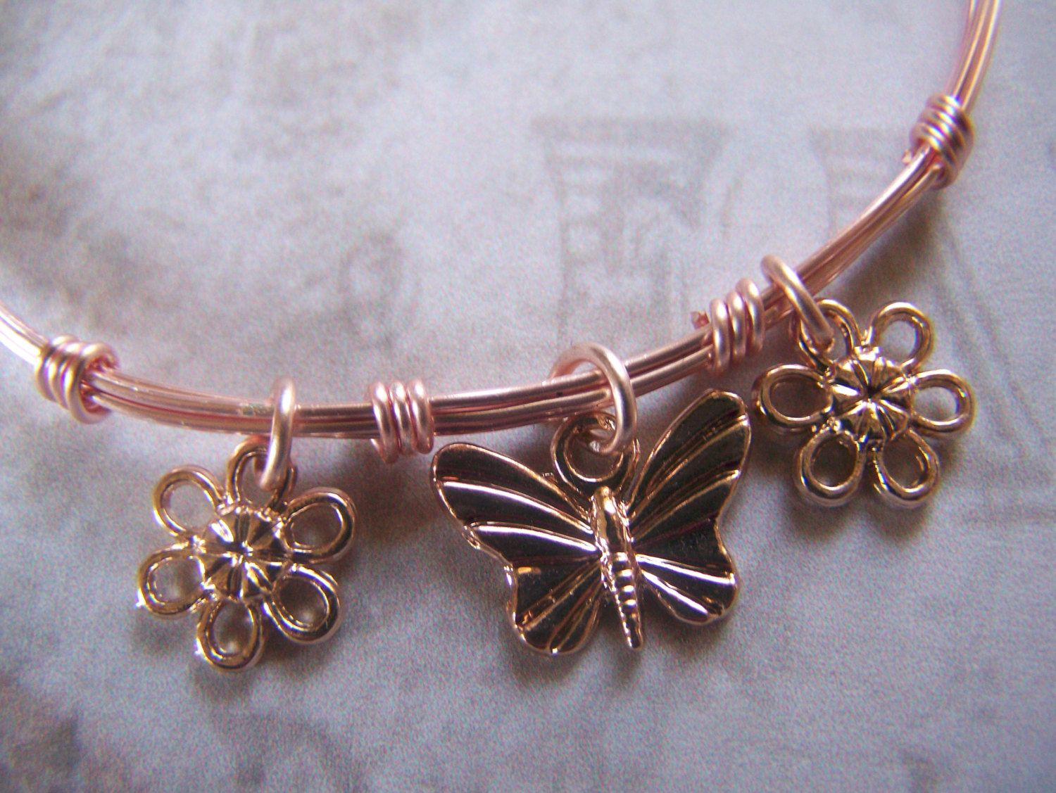 Rose Gold Bangle Wire Wrapped Bracelet by lindasorigjewelry on Etsy