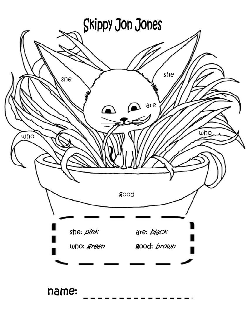 Skippy Jon Jones Coloring Page With Sight Words That I Made Kids