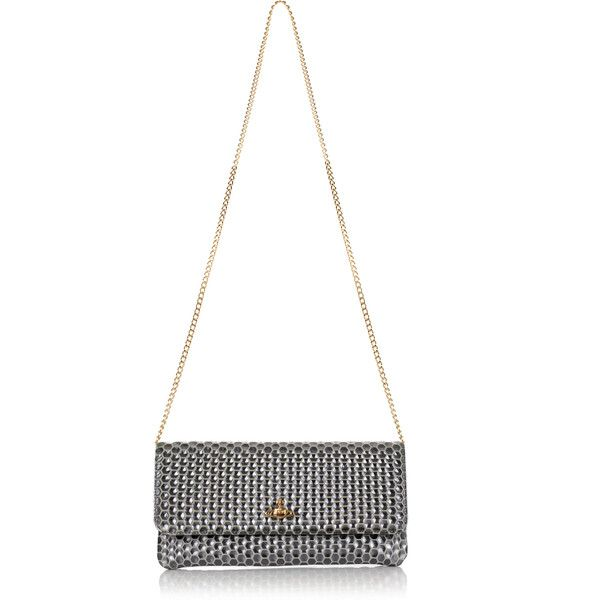3ff4f72324 Vivienne Westwood Honeycomb 6052 Pochette (€250) ❤ liked on Polyvore  featuring bags, handbags, clutches, white handbags, white studded purse,  gold metallic ...
