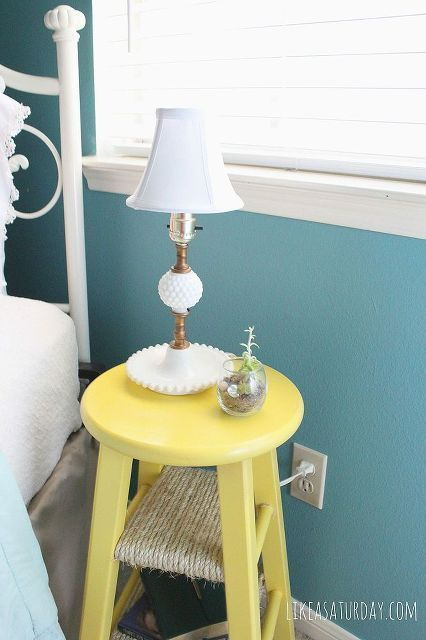 Side Table Repurposed From Barstool Bedroom Ideas Home