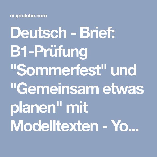 Deutsch Brief B1 Prüfung Sommerfest Und Gemeinsam Etwas Planen