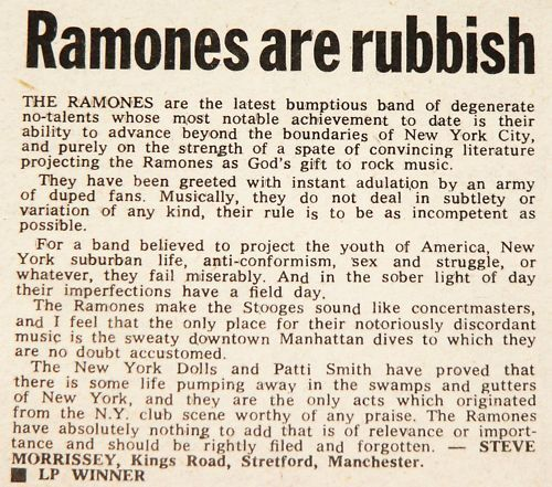 """Ramones Are Rubbish"" - Morrissey's early letter to NME"
