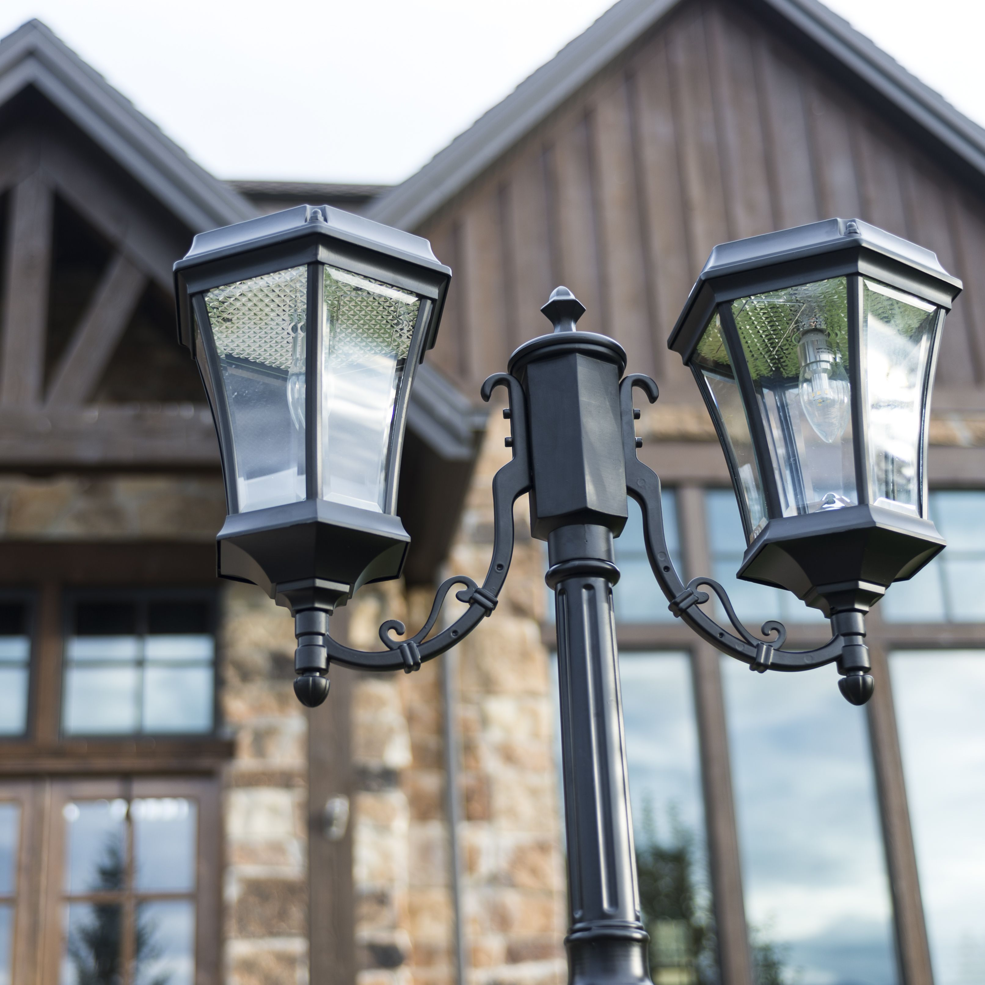 illuminate bright light with the elegant victorian bulb double solar lamp  post  this perfect diy solar lamp post requires no electrical wiring for