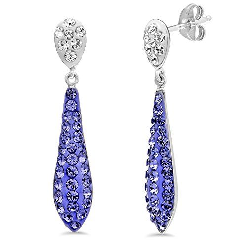 Sterling Silver Purple Crystal Drop Earrings made with Swarovski Elements