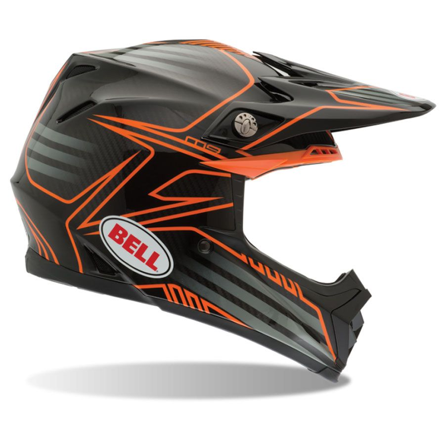 2014 bell moto 9 carbon motocross helmet pinned orange. Black Bedroom Furniture Sets. Home Design Ideas
