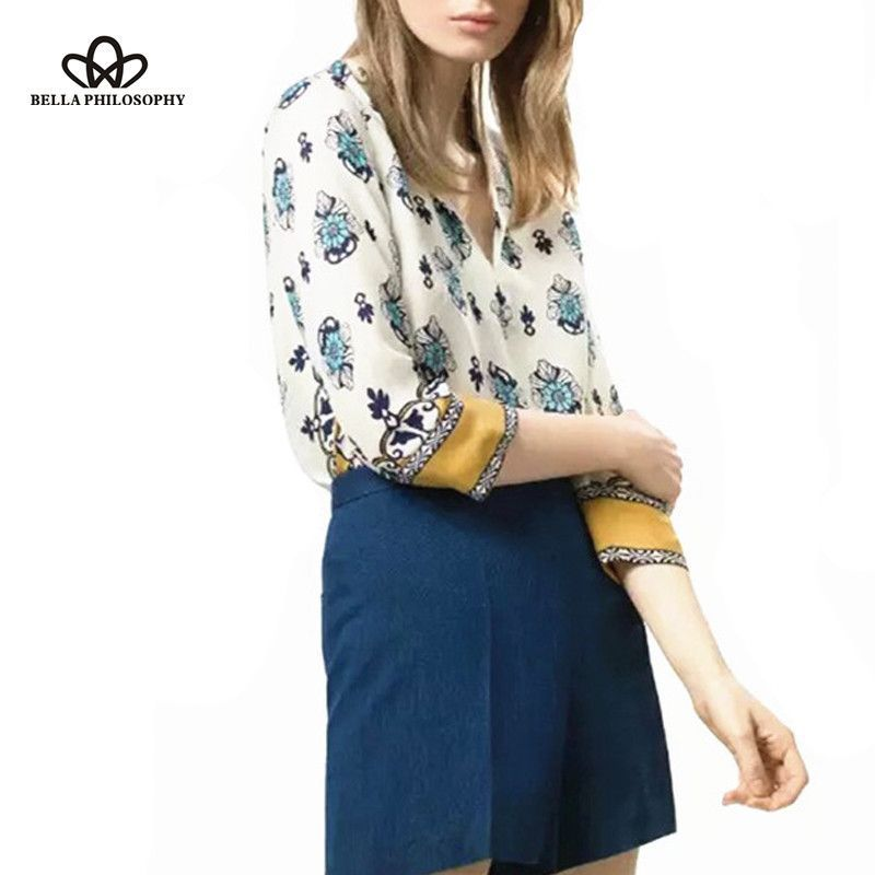Spring summer ethnic styles floral positioning print long sleeve pull over blouse shirt