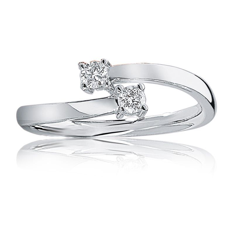 You Me Diamond 2 Stone Ring In 10k White Gold Stone Rings Diamond Beautiful Rings