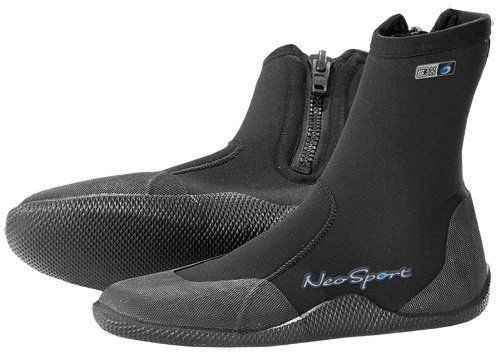 NeoSport Wetsuits Premium Neoprene 3mm Hi Top Zipper Boot,Black,10 by Neo. $21.99. Amazon.com                A top choice among active divers, these tough neoprene zip-up boots provide maximum thermal protection and foot support. Whether navigating wet boat decks or sandy shores, the high-traction sole provides real stability, especially under the heavy load of scuba gear. The beefy zipper is backed up by a special Water Entry Barrier that prevents water exchange and helps keep...