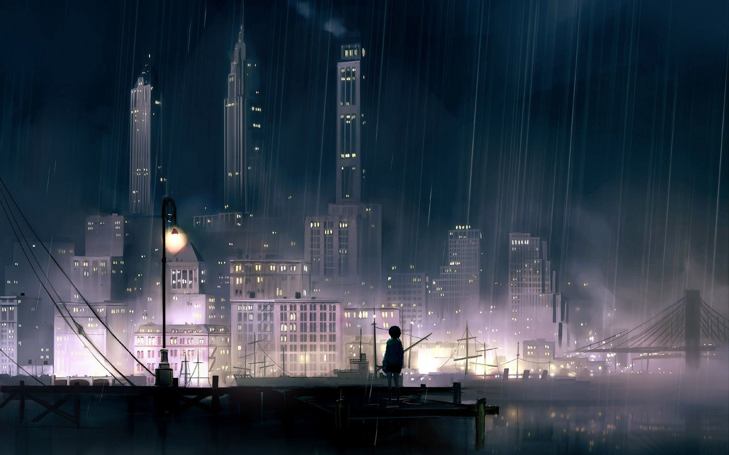 Anime Cityscape wallpaper Anime scenery wallpaper, Rainy