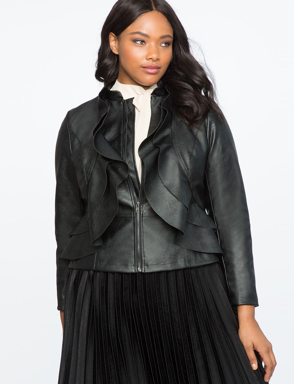 Faux Leather Ruffle Jacket Women's Plus Size Coats