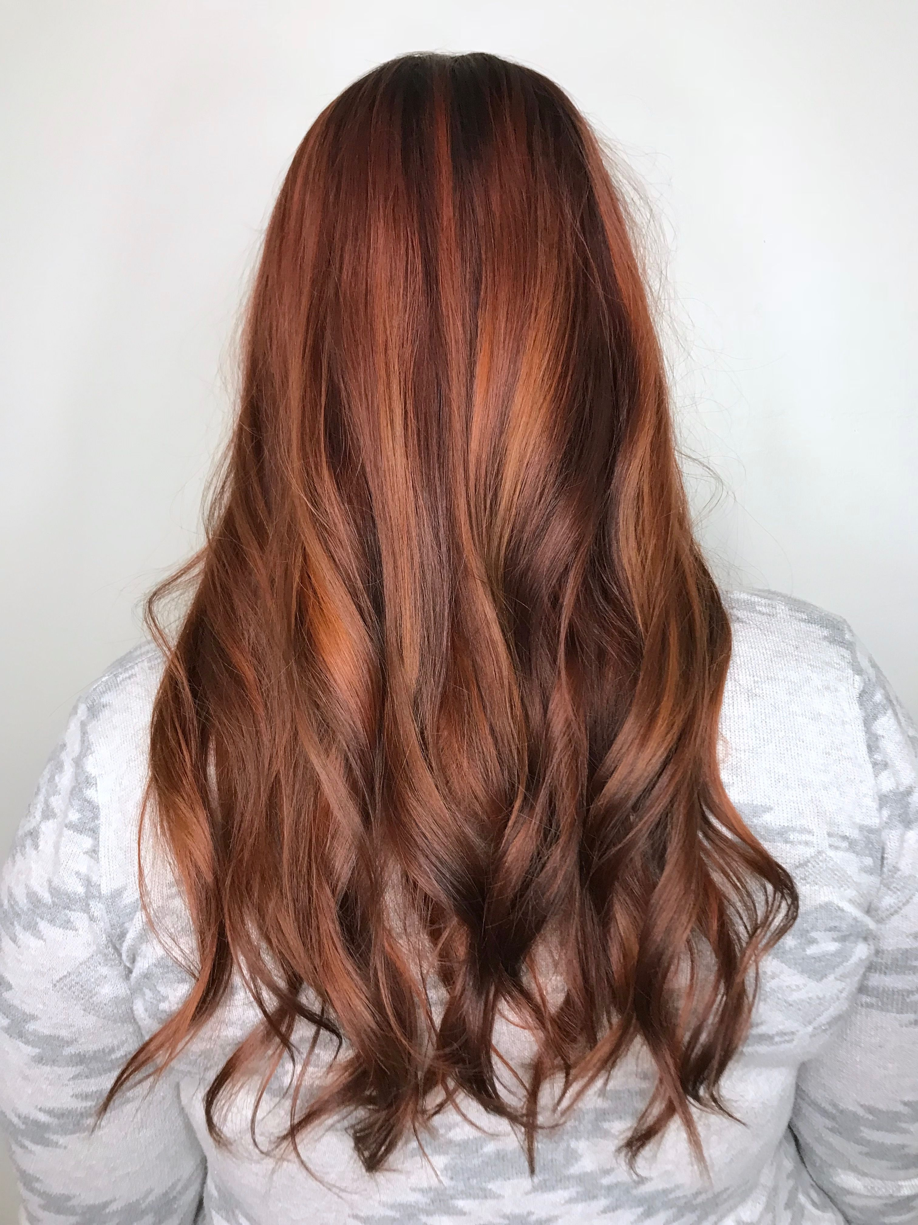 Copper Balayage Cinnamon Hair Color With Copper Warm Chestnut And