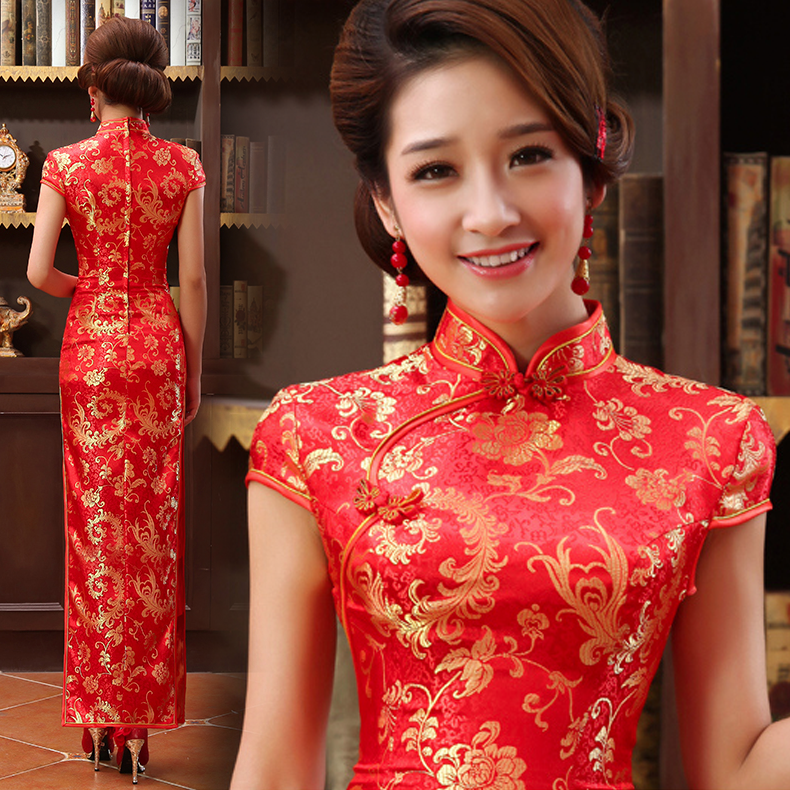 Mandarin collar gold red long traditional chinese wedding for Asian red wedding dresses