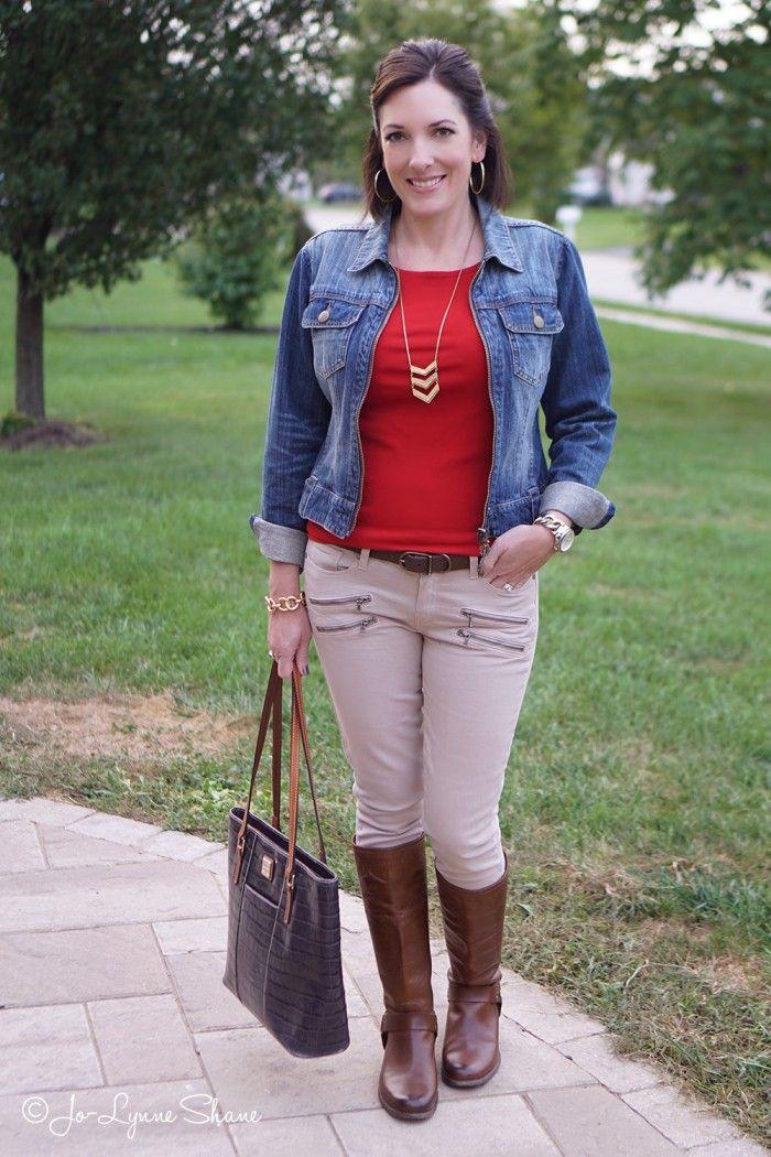 78c4bff631 Fall Outfit Ideas  Denim + Red + Khaki
