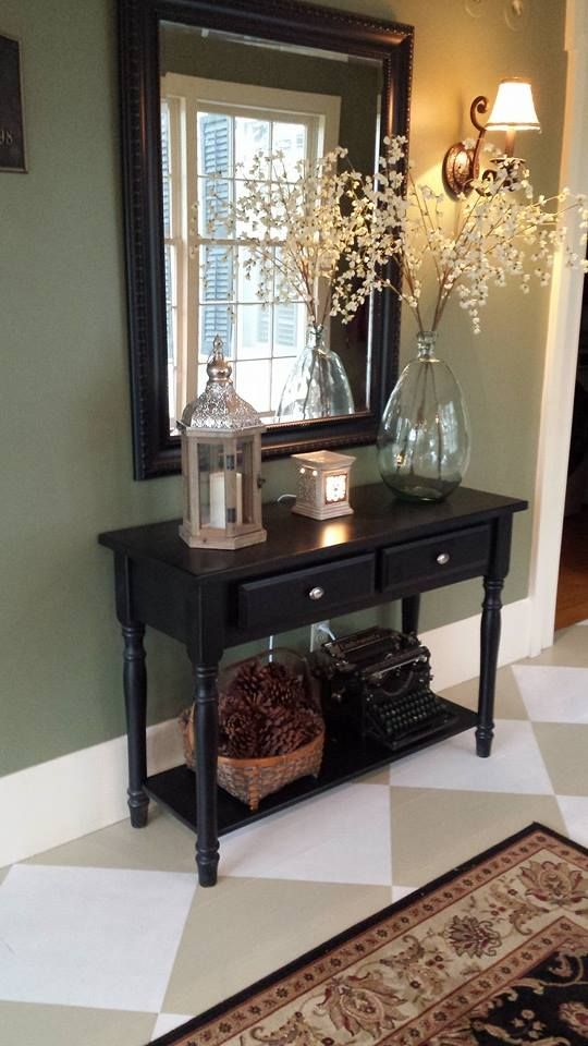 Entry Way Table Decor Bm Weathersfield Moss From Historical Collection On Wall