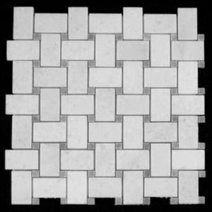 Statuary Crystal Marble Italian White Statuario Basketweave Mosaic Tile With Bardiglio Gray Dots Polished Mosaic Tiles Statuary Marble Tile Statuary